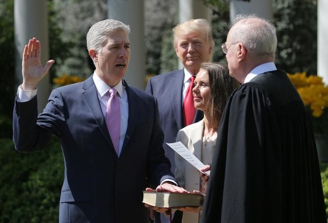 Trump 'optimistic' at Neil Gorsuch's swearing-in after weeks of tumult