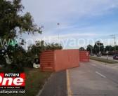 Truck Driver injured in East Pattaya Road Crash